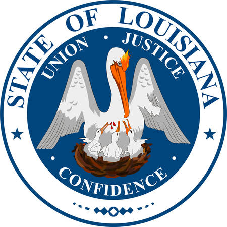 Coat of arms of Louisiana is a state of United States. Vector illustration