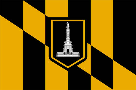 Flag of Baltimore is the largest city in the state of Maryland within the United States. Vector illustration Иллюстрация