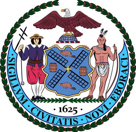 Herb Nowego Jorku lub po prostu Nowego Jorku jest najbardziej zaludnionym miastem w Stanach Zjednoczonych. Ilustracja wektorowa