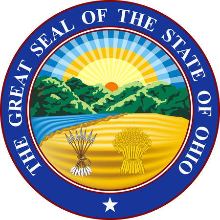 Coat of arms of Ohio is a state of United States. Vector illustration