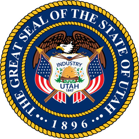 Coat of arms of Utah is a state in the western United States. Vector illustration  イラスト・ベクター素材