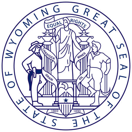 Coat of arms of Wyoming state of the Western United States. Vector illustration