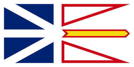Le drapeau de Terre-Neuve-et-Labrador est la province la plus à l'est du Canada. Illustration vectorielle Vecteurs