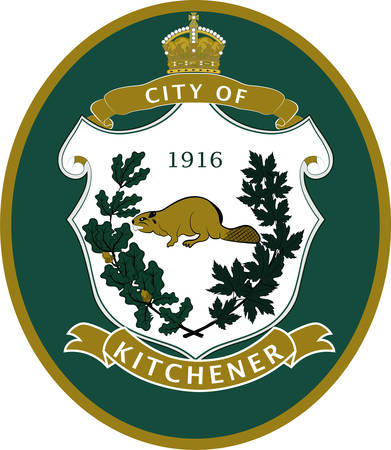 Coat of arms of Kitchener is a city in the Regional Municipality of Waterloo, Ontario, Canada. Vector illustration