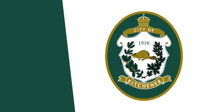Flag of Kitchener is a city in the Regional Municipality of Waterloo, Ontario, Canada. Vector illustration