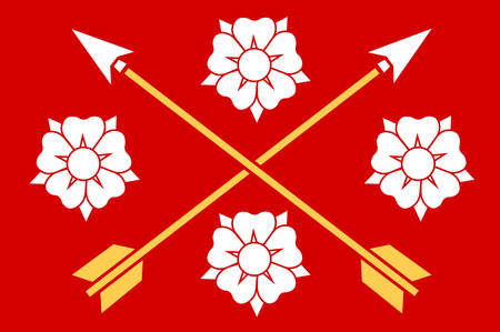 Flag of Nerke is a province situated in Svealand in south central Sweden. Vector illustration 写真素材 - 127132407