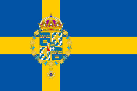 Flag of Sweden officially the Kingdom of Sweden is a Scandinavian country in Northern Europe. Vector illustration