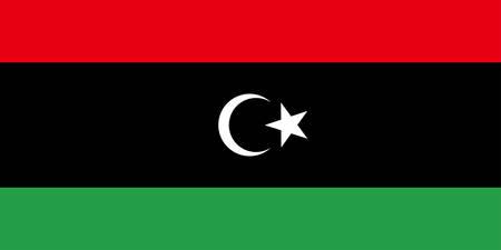 La bandera del estado de Libia es un país de la región del Magreb en el norte de África. Ilustración vectorial Ilustración de vector