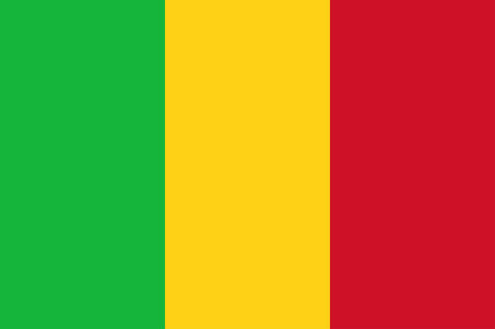 Flag of Republic of Mali is a landlocked country in West Africa, a region geologically identified with the West African Craton. Vector illustration  イラスト・ベクター素材