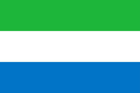 Flag of Republic of Sierra Leone is a country on the southwest coast of West Africa. Vector illustration