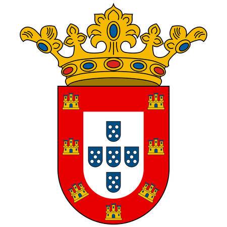 Coat of arms of Ceuta is an Spanish autonomous city on the north coast of Africa from Cadiz province. Vector illustration  イラスト・ベクター素材
