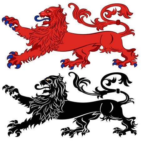 Heraldic Lion in Passant Attitude. Vector illustration