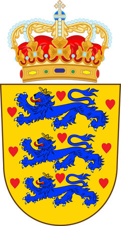 Coat of arms of Denmark is a Scandinavian country in Europe. Vector illustration