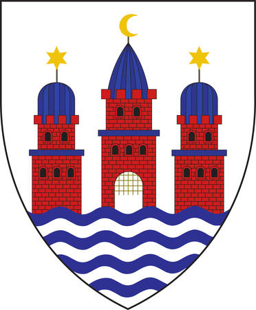 Coat of arms of Copenhagen is the capital and most populated city of Denmark. Vector illustration