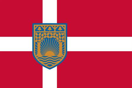 Drapeau de Gentofte est une municipalité de la région de la capitale du Danemark. Illustration vectorielle