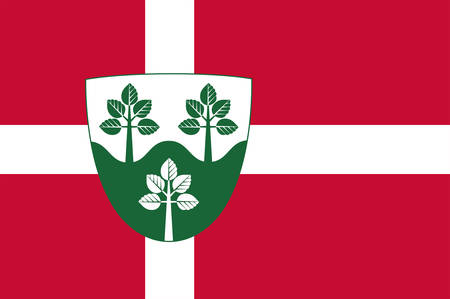 Flag of Rebild municipality is a municipality in North Jutland Region in Denmark. Vector illustration Illustration