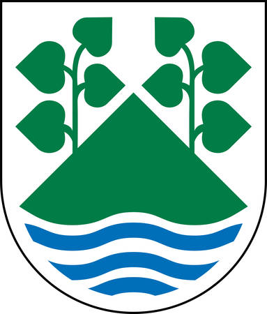 Coat of arms of Aero is a municipality belongs to Region of Southern Denmark. Vector illustration