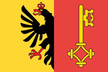 La bandera de la República y el Cantón de Ginebra es el cantón o estado más occidental de habla francesa de Suiza. Ilustración vectorial