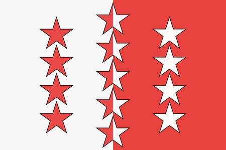 Flag of Canton of Valais is one of the 26 cantons of Switzerland. Vector illustration