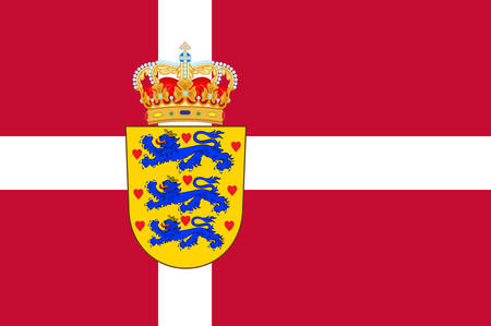 Flag of Denmark is a Scandinavian country in Europe. Vector illustration Ilustrace