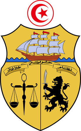 Coat of arms of Tunisia officially the Republic of Tunisia is a sovereign state in Northwest Africa. Vector illustration
