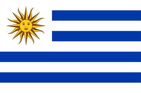 Flag of Uruguay officially the Oriental Republic of Uruguay is a sovereign state in the southeastern region of South America. Vector illustration