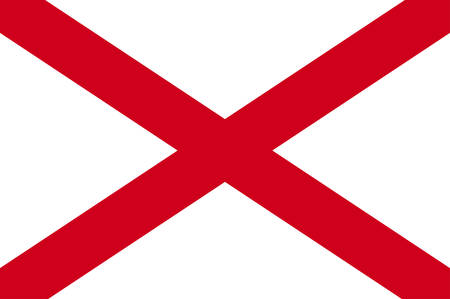 Flag of Alabama is a state of the United States. Vector illustration