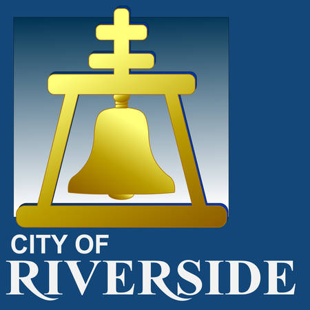 Coat of arms of Riverside is a city in Riverside County, California, United States, located in the Inland Empire metropolitan area. Vector illustration