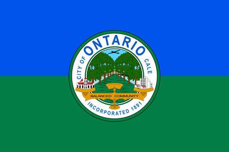 Flag of Ontario is a city located in southwestern San Bernardino County, California. Vector illustration  イラスト・ベクター素材