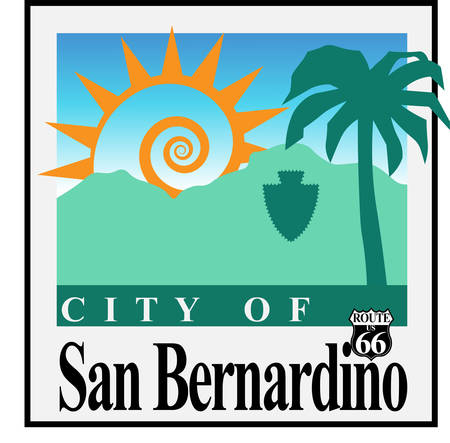 Coat of arms of San Bernardino is a city in San Bernardino County, California, United States. Vector illustration Ilustração