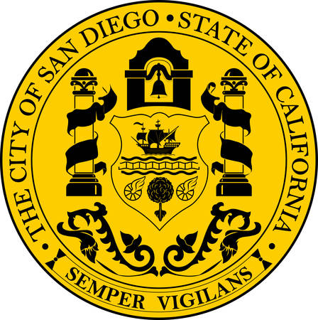 Coat of arms of San Diego is a major city in California, United States. Vector illustration