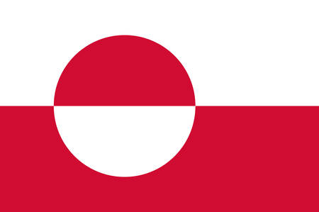 Flag of Greenland is an island country of Denmark Kingdom. Vector illustration Çizim