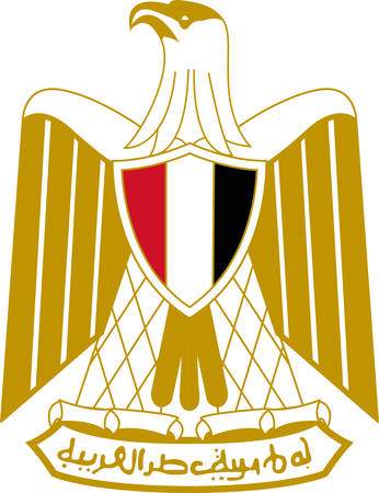 Coat of arms of Egypt officially the Arab Republic of Egypt. Vector illustration