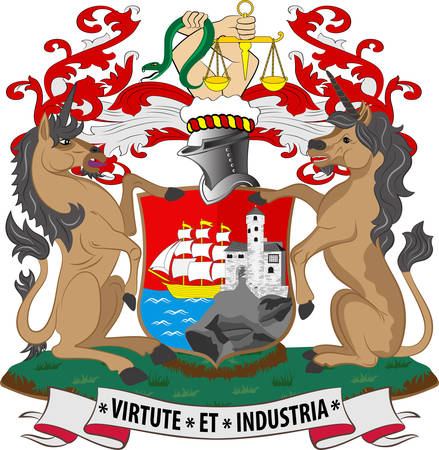 Coat of arms of Bristol is a city and county in South West England. Vector illustration