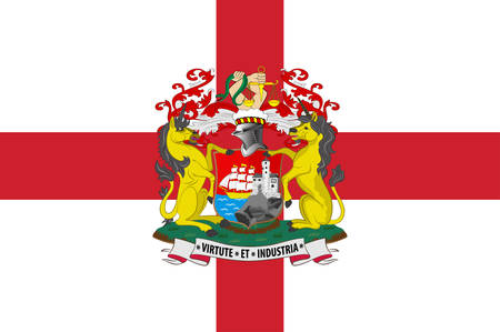 Flag of Bristol is a city and county in South West England. Vector illustration Illustration