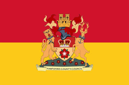 Flag of Hampshire is a county on the southern coast of England in the United Kingdom. Vector illustration Illustration