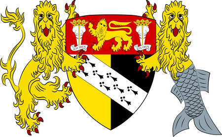 Coat of arms of Norfolk is a county in East Anglia in England. Vector illustration Illustration
