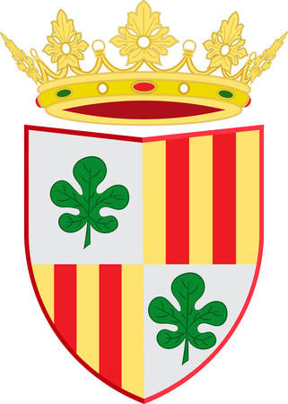 Coat of arms of Figueres is the capital of the comarca of Alt Emporda, in the province of Girona, Catalonia, Spain. Vector illustration