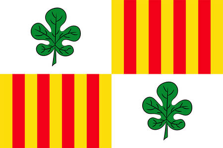 Flag of Figueres is the capital of the comarca of Alt Emporda, in the province of Girona, Catalonia, Spain. Vector illustration