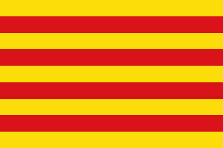 Flag of Catalonia is an autonomous community of Spain. Vector illustration Иллюстрация