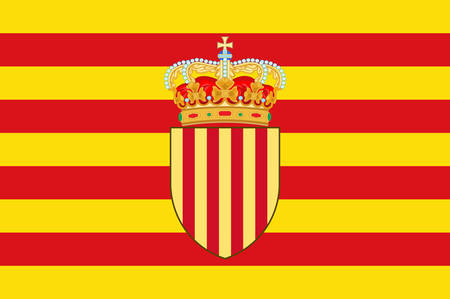 Flag of Catalonia is an autonomous community of Spain. Vector illustration Çizim
