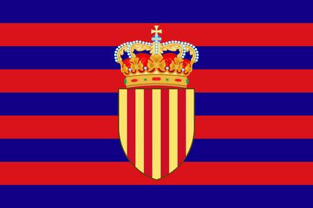 Flag of Catalonia is an autonomous community of Spain. Vector illustration Ilustração