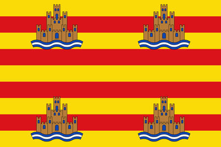Flag of Ibiza is an island in the Mediterranean Sea off the east coast of Spain. Vector illustration