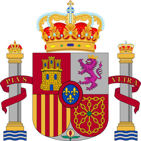 Coat of arms of Spain officially the Kingdom of Spain is a sovereign state mostly located on the Iberian Peninsula in Europe. Vector illustration Illustration