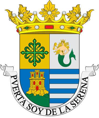 Coat of arms of Villanueva de la Serena is a city in the Province of Badajoz, Extremadura, Spain. Vector illustration