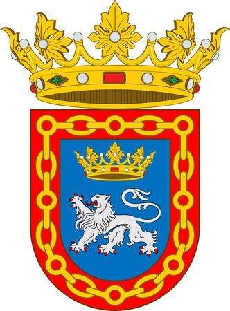 Coat of arms of Pamplona is the historical capital city of Navarre, in Spain, and of the former Kingdom of Navarre. Vector illustration
