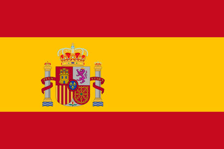 Flag of Spain officially the Kingdom of Spain is a sovereign state mostly located on the Iberian Peninsula in Europe. Vector illustration