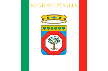 Flag of Apulia is a region of Italy. Vector illustration Ilustrace