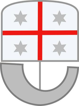 Coat of arms of Liguria is a coastal region of north-western Italy. Vector illustration Illustration