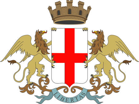 Coat of arms of Genoa is the capital of Liguria and the sixth largest city in Italy. Vector illustration